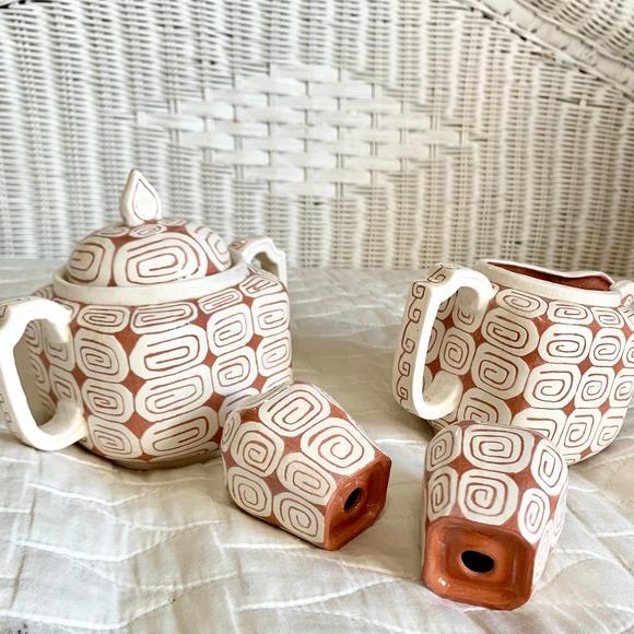 Vintage Clay Terra Cotta Cream Tea Set